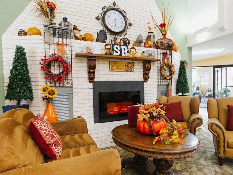 Sierra Regency decorated fireplace.