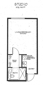 Studio floor plans 338 sq ft