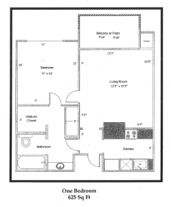 One bedroom 625 sq ft