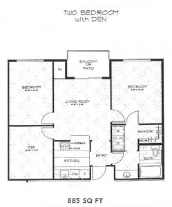 2 bedroom with den 885 sq ft