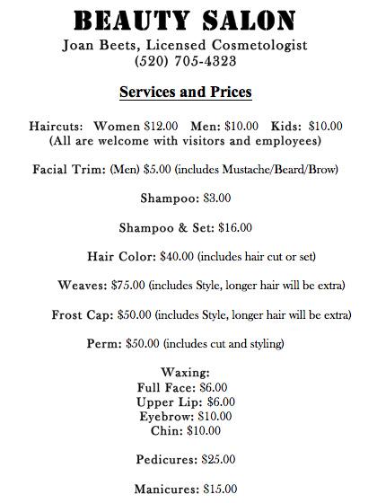 menu of salon services