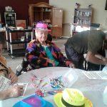 Residents doing crafts.