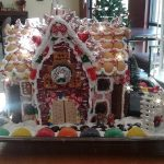 A gingerbread house with candy.