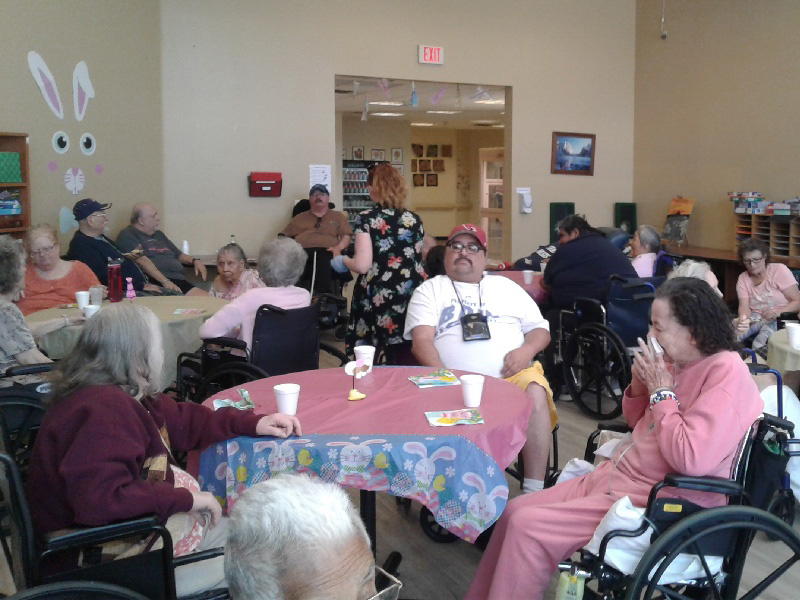 Residents at an Easter party.