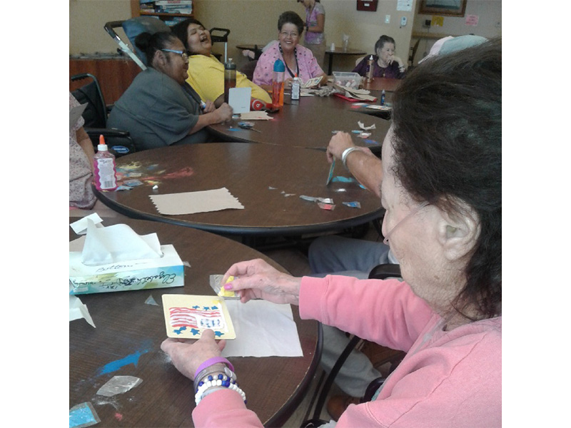 Residents crafting together.