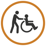 man pushing wheelchair icon