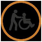 man pushing wheelchair icon