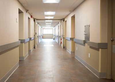 Resident hall way with very clean floors