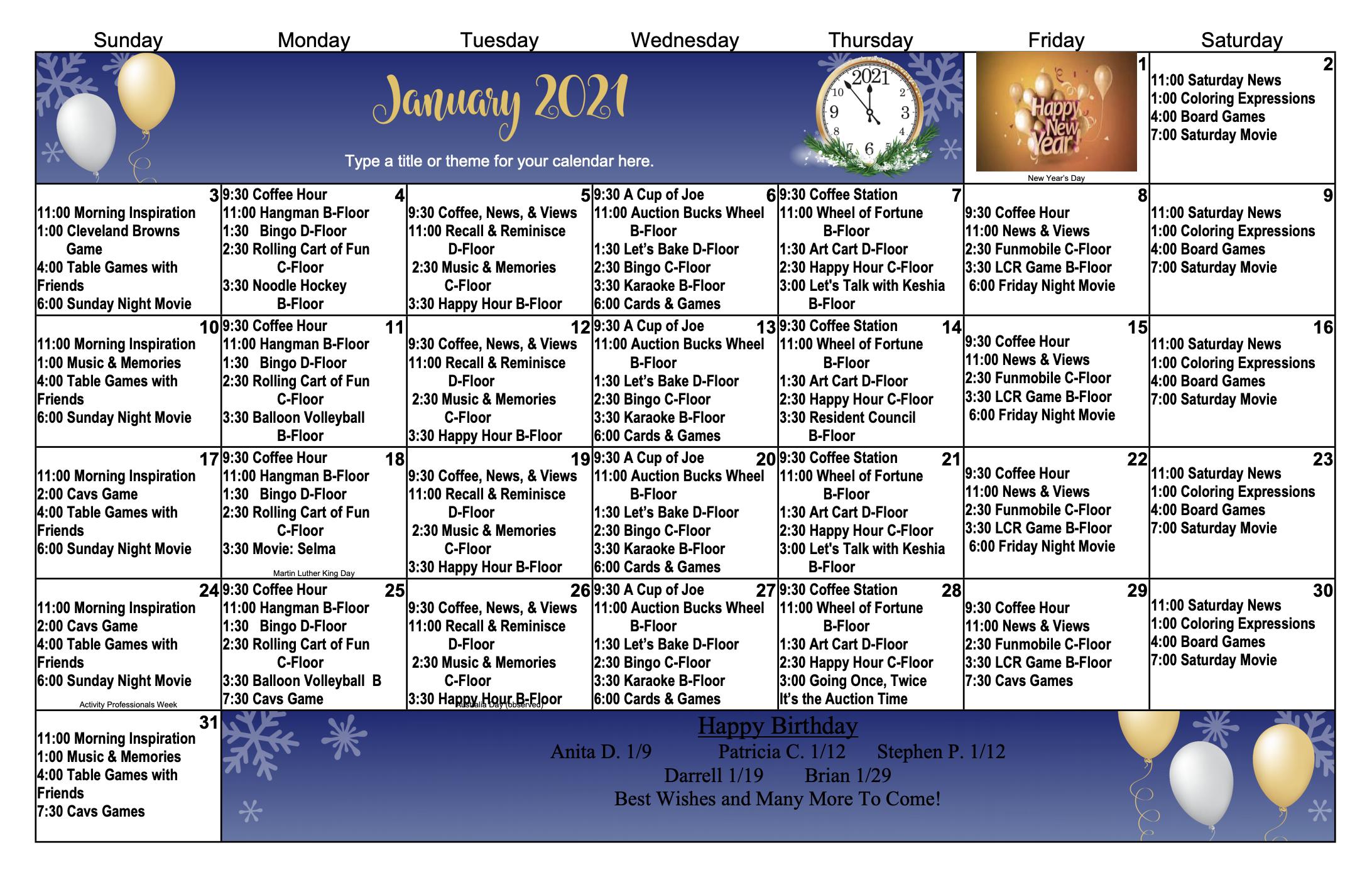 January 2021 Activity Calendar For Eastbrook
