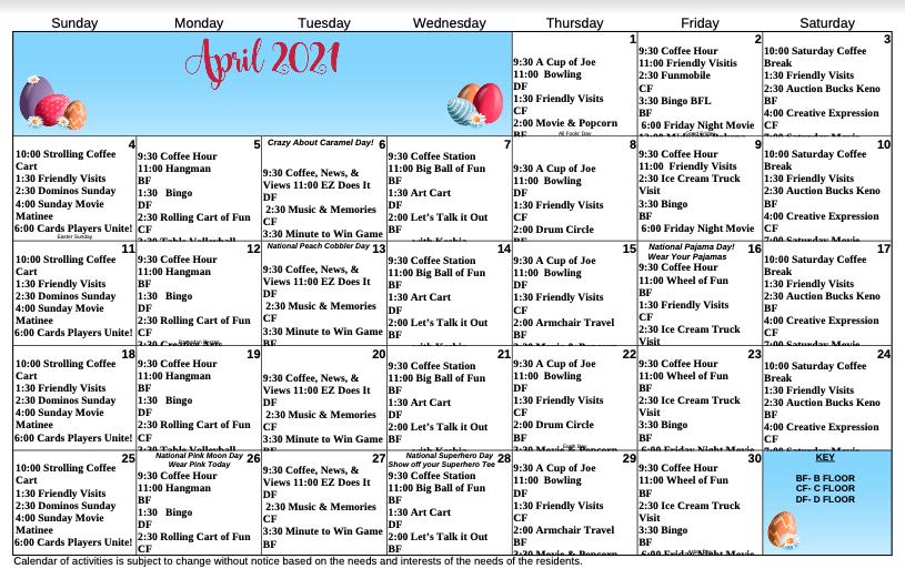 April Calendar For Eastbrook Healthcare Center