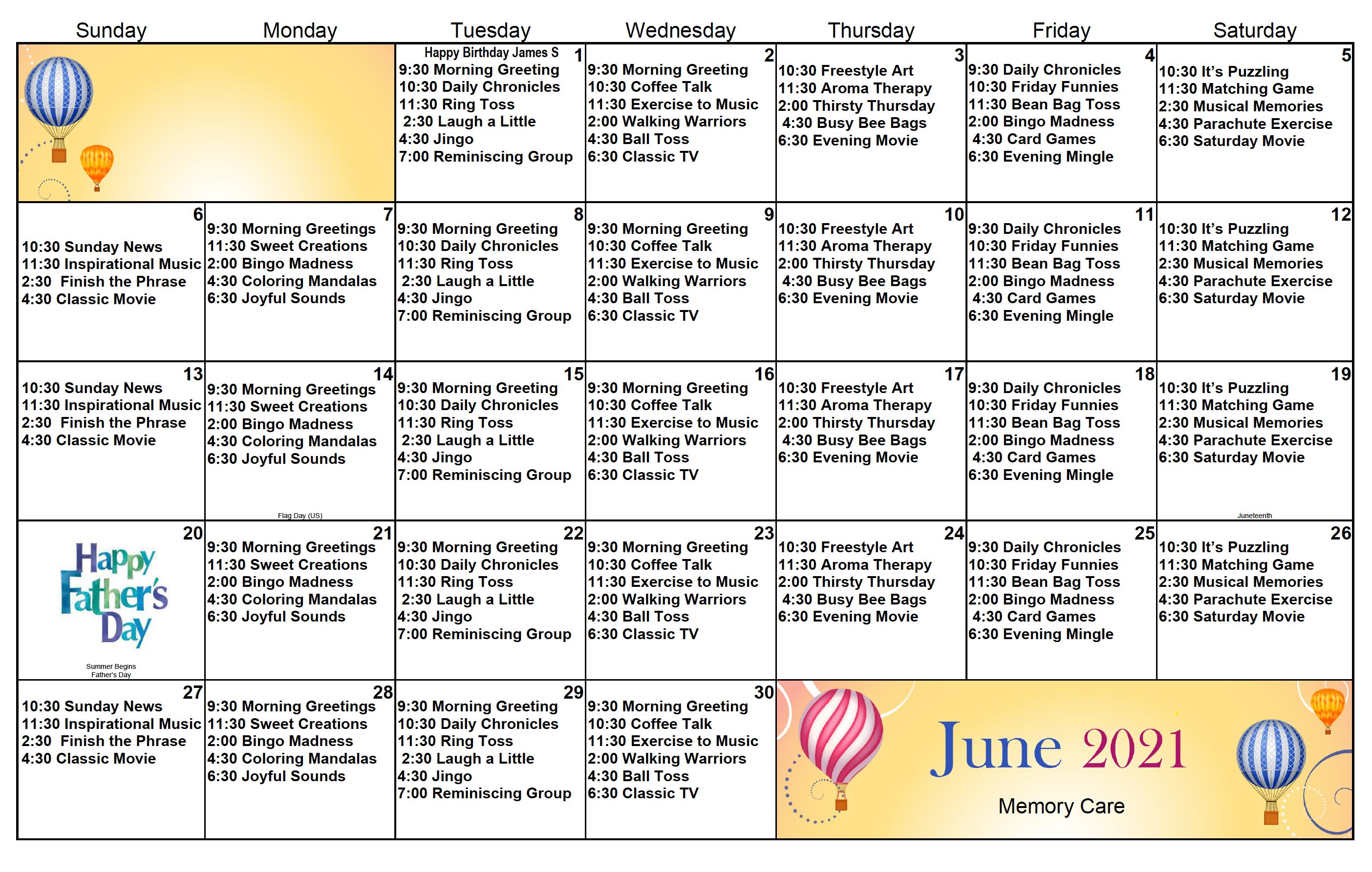Memory Care Calendar For Eastbrook