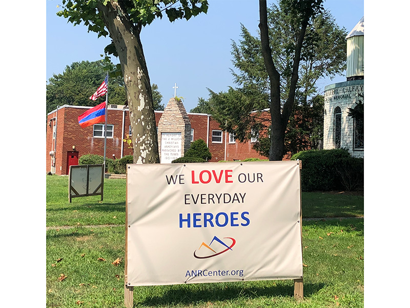 We love our everyday heroes sign out front.