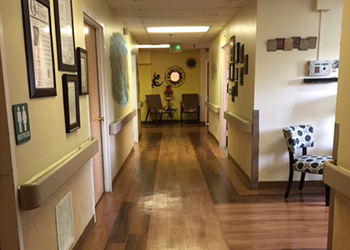 A hallway at Oak Trace Care