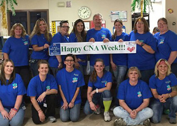 Employees celebrating CNA week