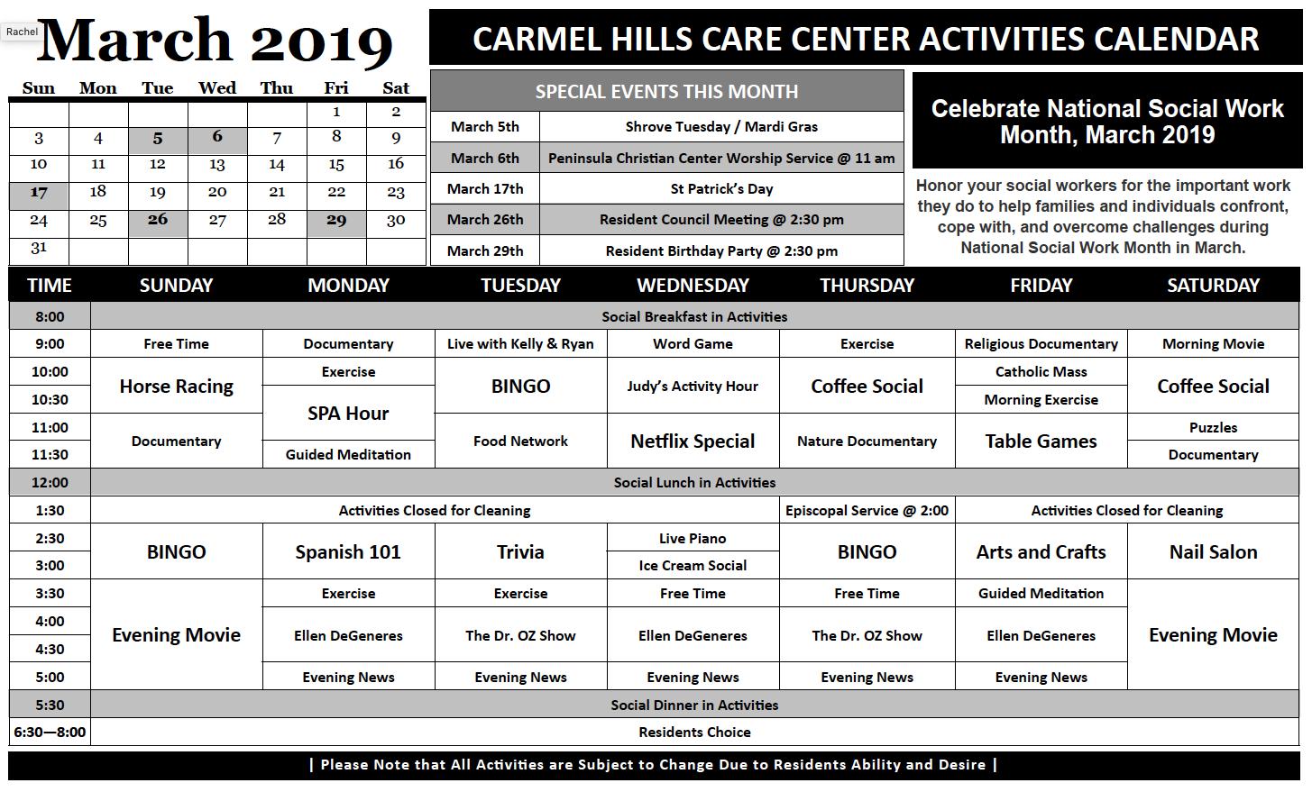 Carmel Hills March calendar