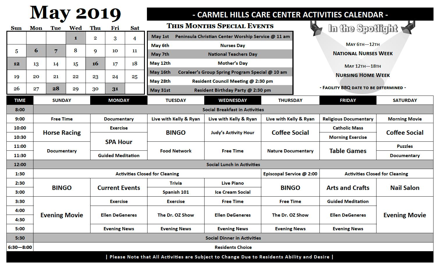 May 2019 resident activity calendar