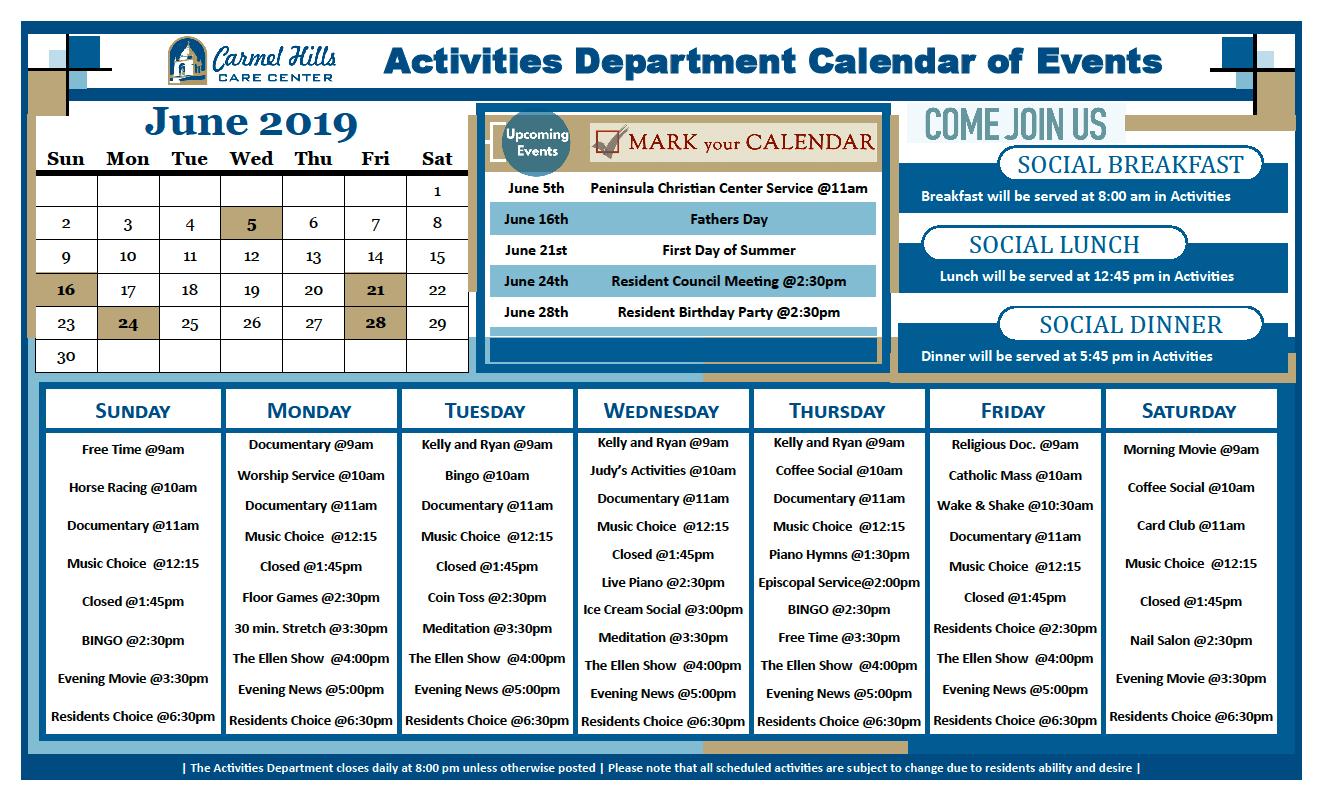 June 2019 activity calendar for Carmel Hills Care Center