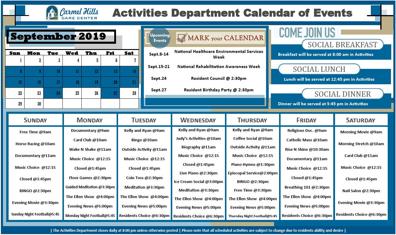 Carmel Hills September calendar