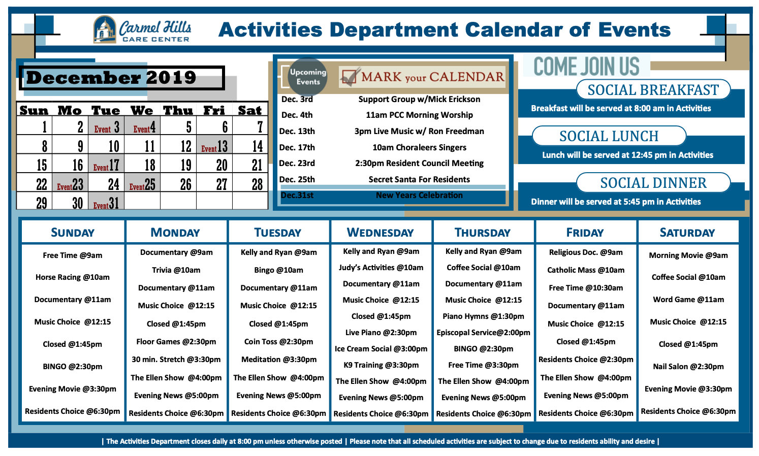 Carmel Hills December 2019 activity calendar