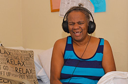 resident listening to music