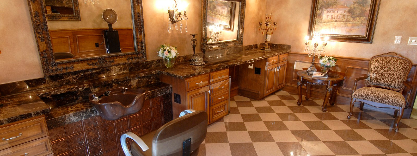 Beautiful granite countertops in the salon