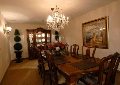 Private dining room with large table and seating for 8