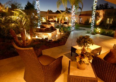 Comfortable outside seating beside beautiful water features