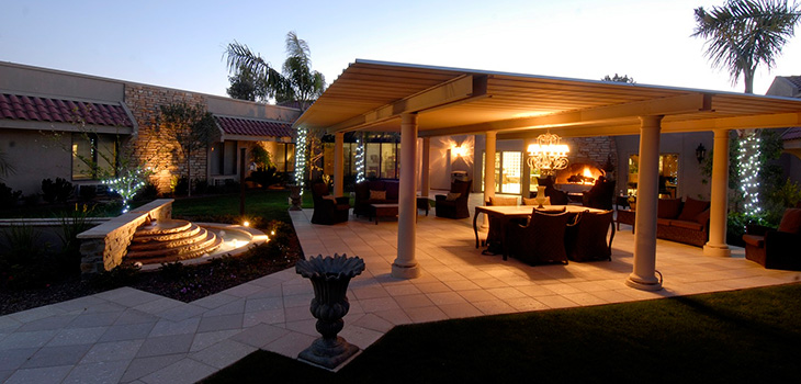 Beautiful outdoor courtyard with a covered patio