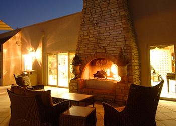 Fireplace lit outside