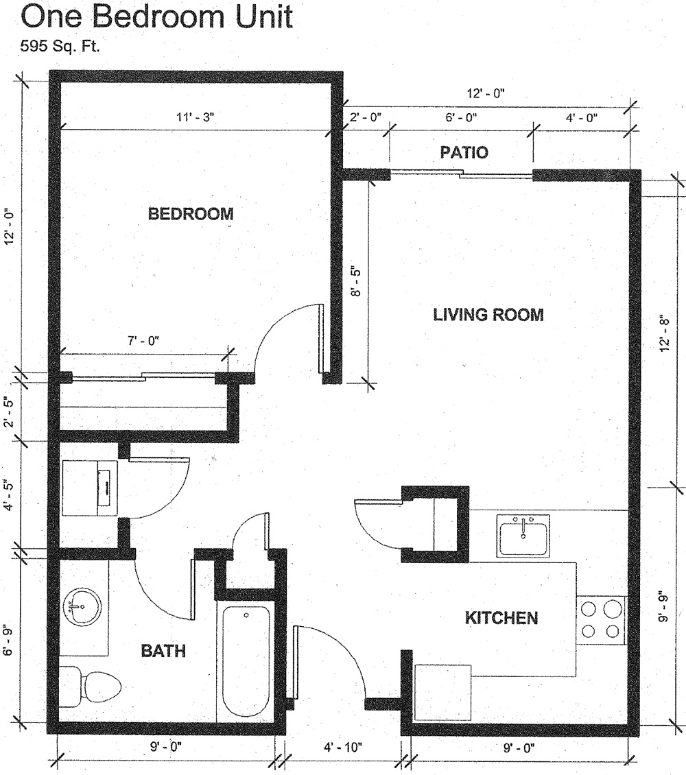 One bedroom unit floor plans with 595 square feet. Boasting a bedroom, living room and patio, bathroom and kitchen.