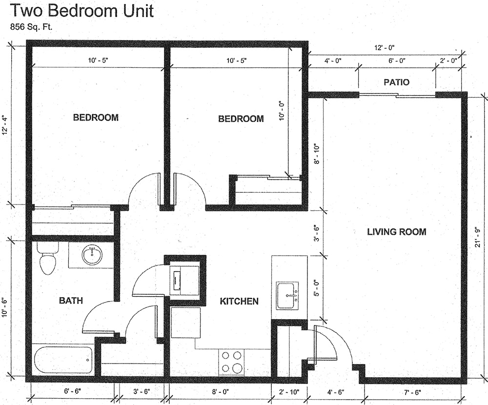 Two bedroom unit floor plans with 856 square feet. Boasting two bedrooms, a living room with patio, bathroom, and kitchen.