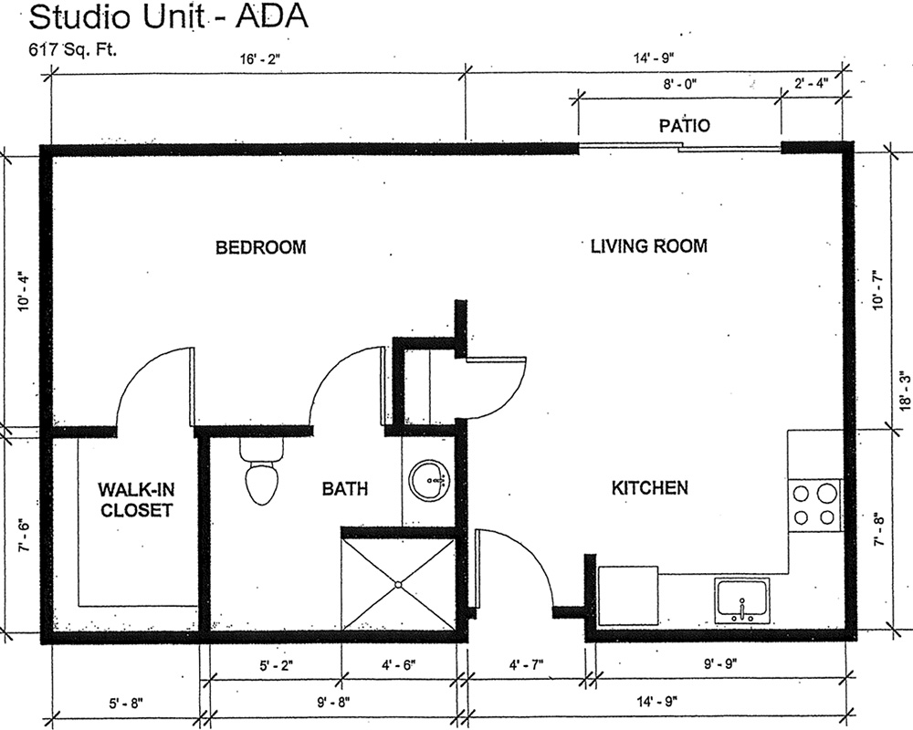 Studio - ADA floor plans with 617 square feet, boasting a bedroom, living room with patio, kitchen, bathroom and walk-in closet
