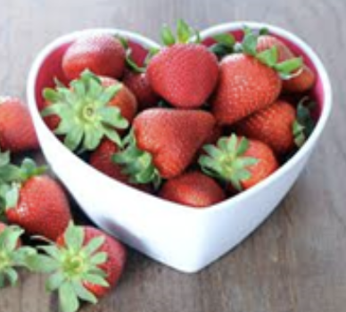 Strawberries In A Heart Bowl