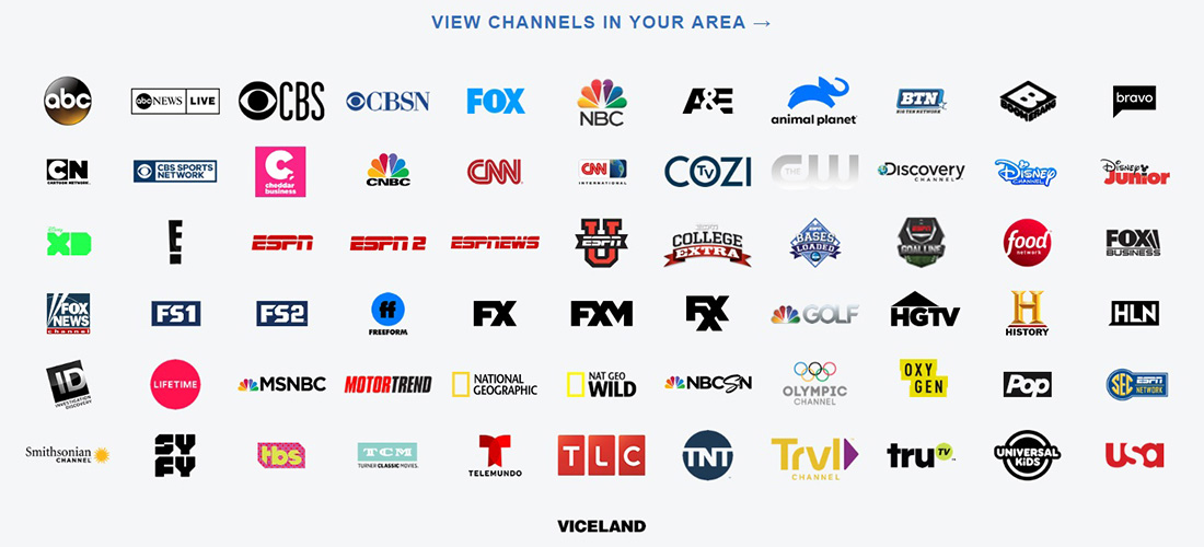 Channels available in your area
