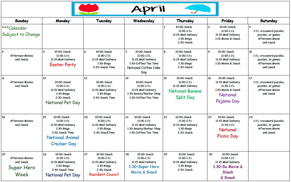 Wibaux April Calendar