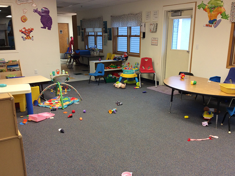 Child Development Center room with toys all around