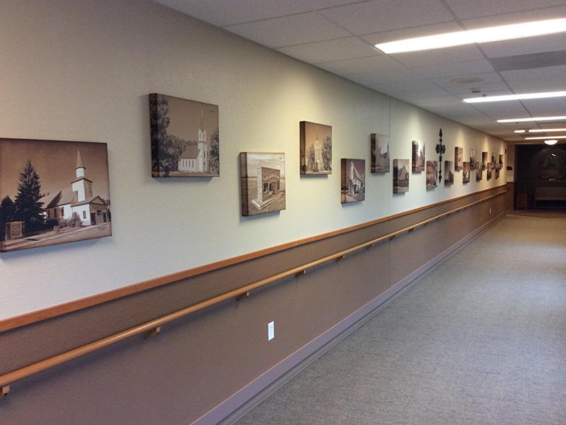 Hallway with images on the walls