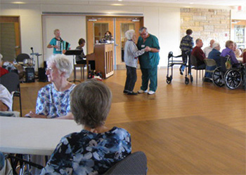 residents dancing inside ballroom