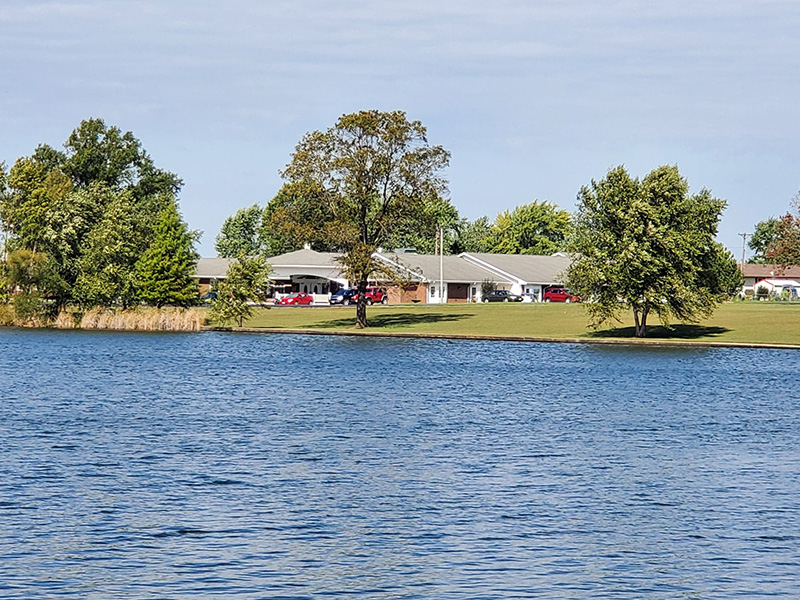 View from across the lake of Lincoln Community Care Center