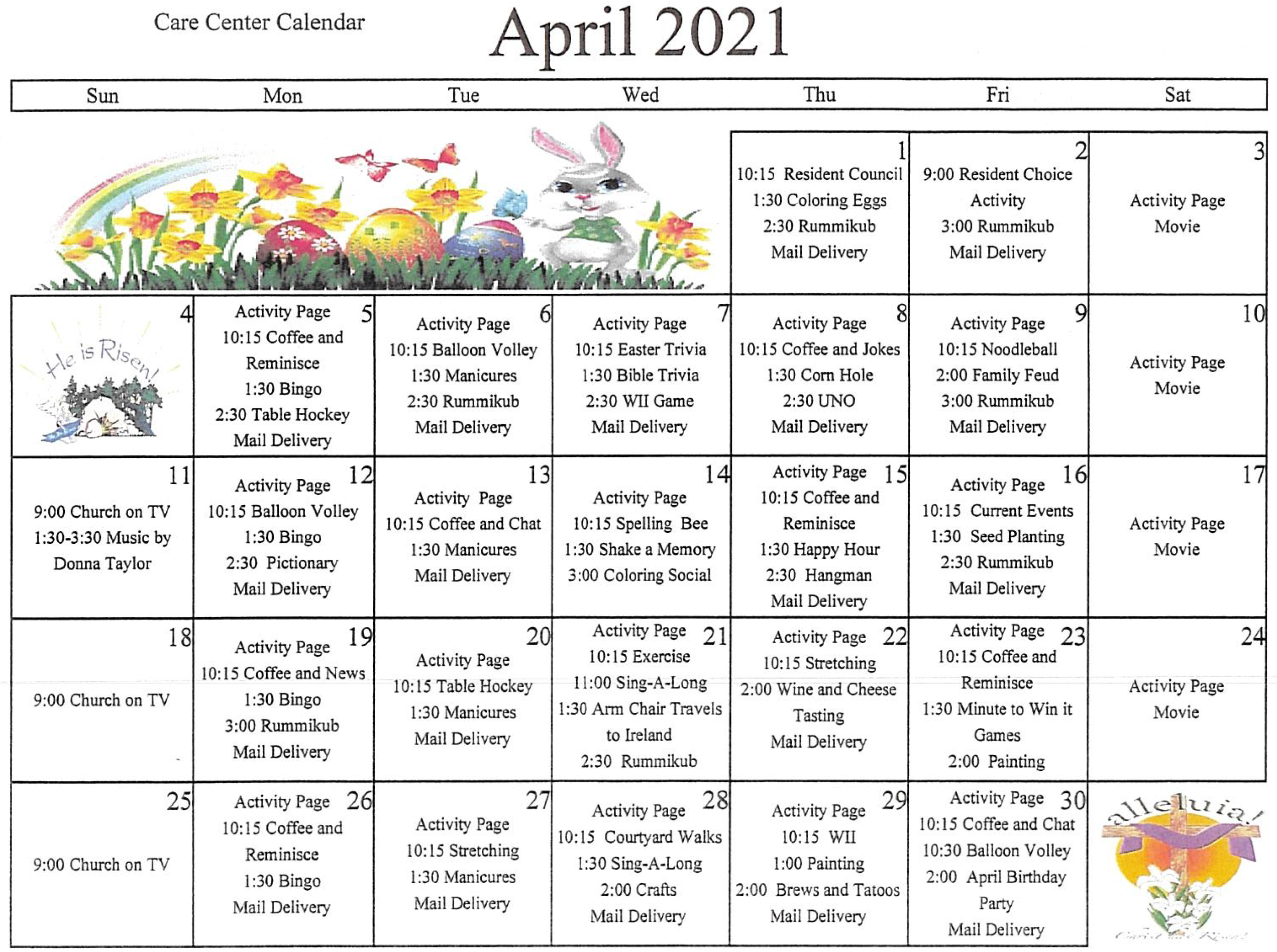 Care Center April Calendar