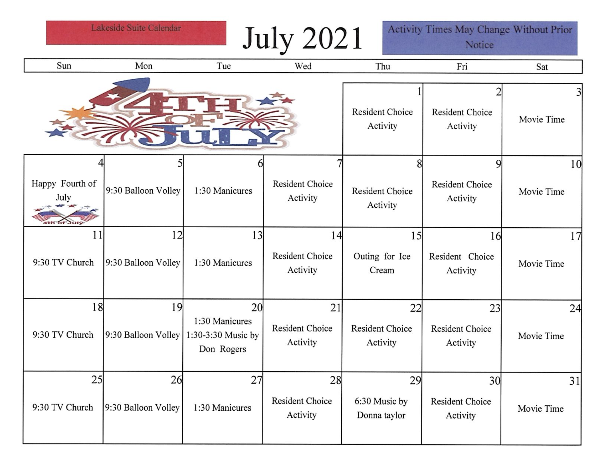 Lincoln Care Center Lakeside Suite July 2021 Calendar