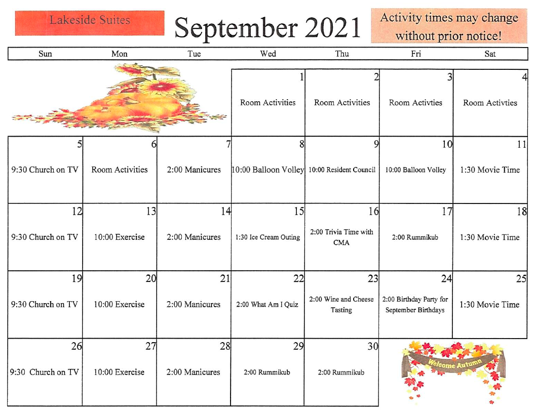 Lakeside Suites AL September Activity Calendar