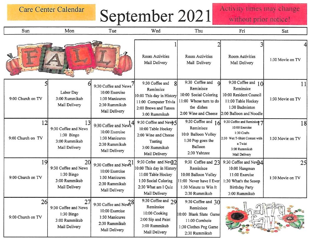 Lincoln Community September Activity Calendar