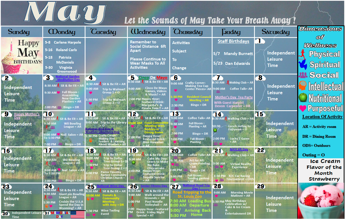 Pointe At Jacksonville May Activity Calendar