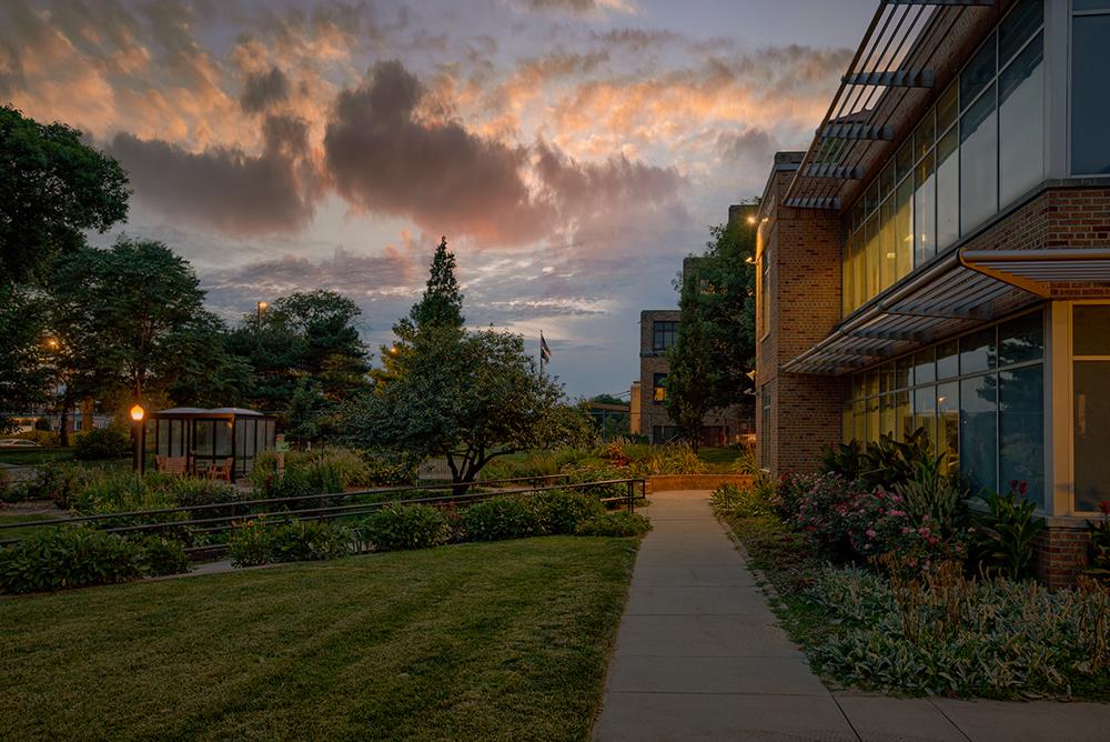 facility at dusk
