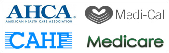AHCA. CAHF, Medicare and Medical logos