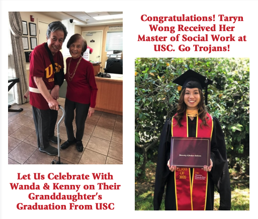 Wanda and Kenny's granddaughter in her cap and gown graduating from USC. Congratulations Taryn, Wanda and Kenny!