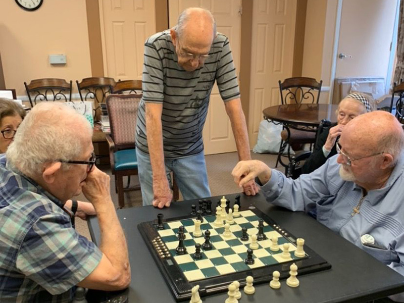 Residents playing a game of chess
