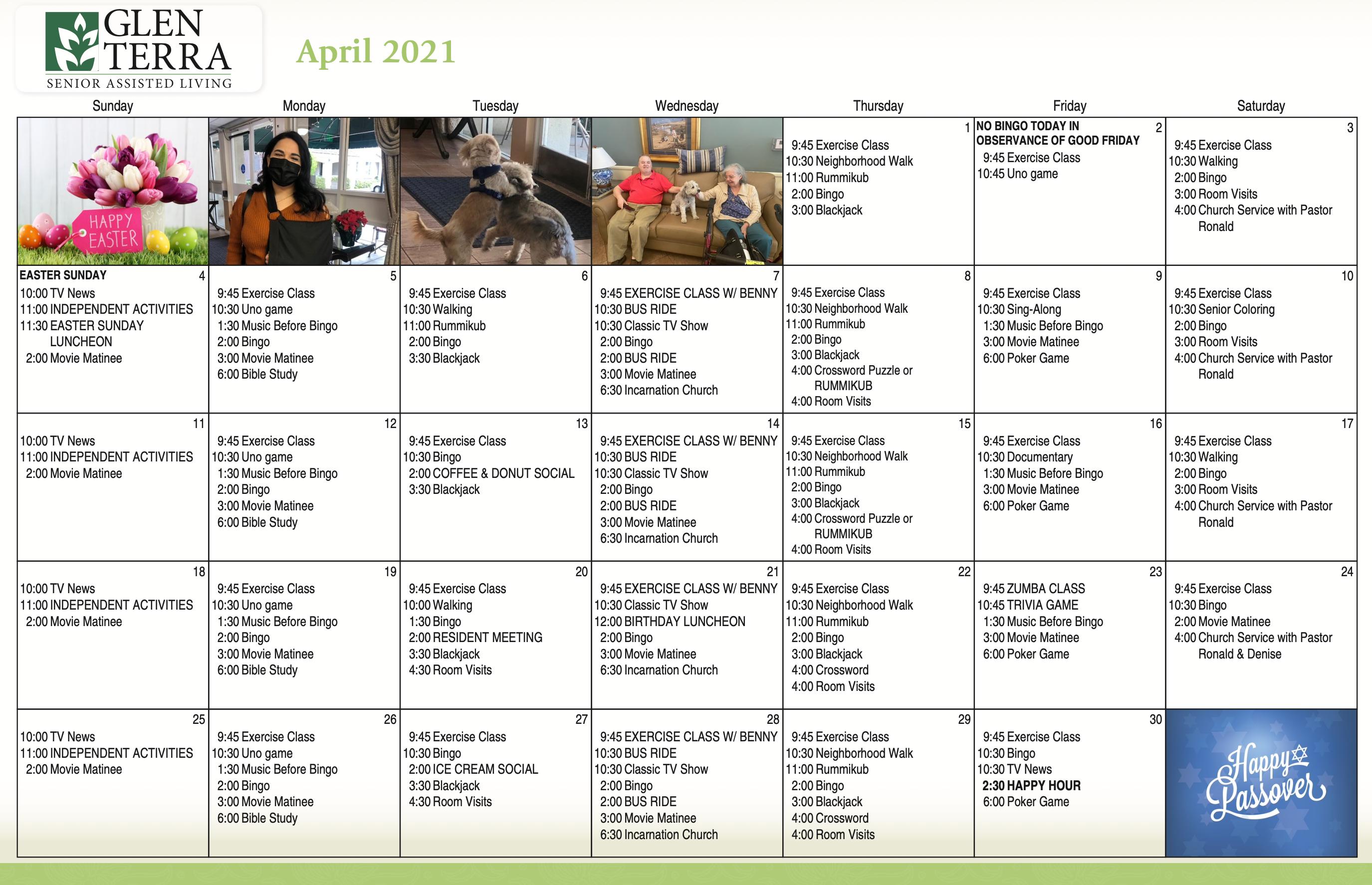 April 2021 Glen Terra Calendar