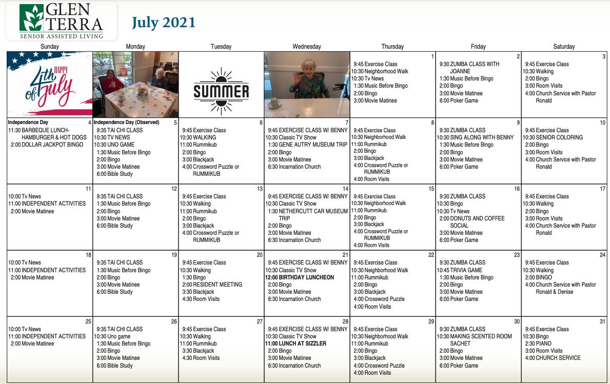 July 2021 Calendar For Glen Terra